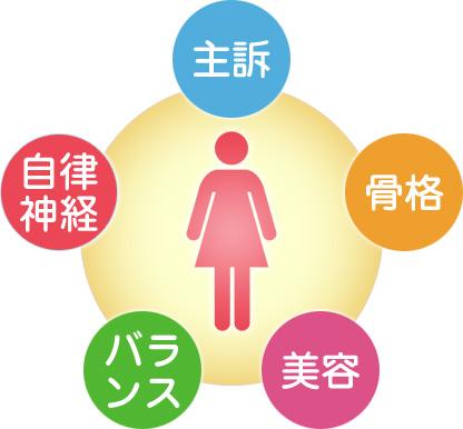 主訴/骨格/美容/バランス/自律神経